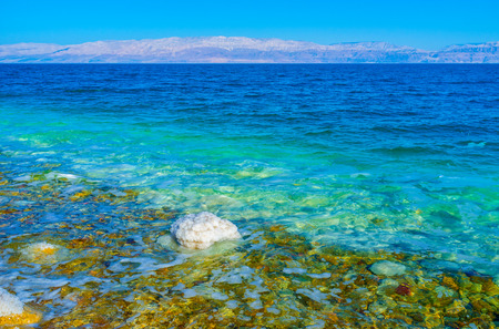 gedi: The Dead Sea, that is the deepest hypersaline lake in the world, boasts clear water, Ein Gedi, Israel.