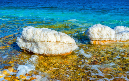 gedi: The scenic nature of the Dead Sea with unusual stones, covered the crystals of salt, Ein Gedi, Israel.