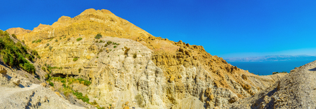 judean desert: Ein Gedi Nature Reserve offers hiking tracks for the active tourists with amazing views and great experience, Judean desert, Israel.