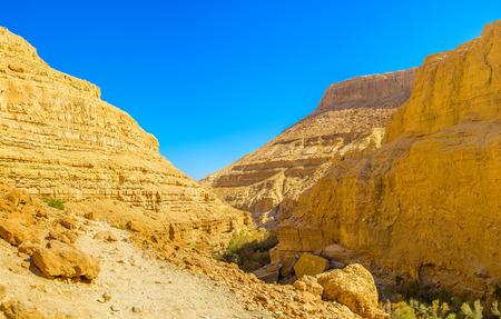 judean desert: The walk along the scenic orange canyon in Ein Gedi Nature Reserve, Judean desert, Israel.