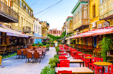 cater: TBILISI, GEORGIA - MAY 28, 2016: The numerous cafes and restaurants with wide range of dishes and beverages can cater to any visitor, on May 28 in Tbilisi. Editorial