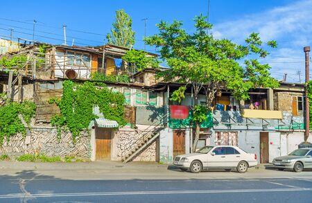 slums: The slums in Yerevan, located in Kond District, Armenia. Stock Photo