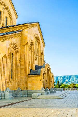 holy trinity: The entrance to the Holy Trinity (Sameba) Cathedral in Tbilisi, Georgia. Stock Photo
