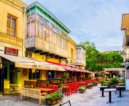 TBILISI, GEORGIA - MAY 28, 2016: The morning street of closed restaurants is quiet and empty, on May 28 in Tbilisi.