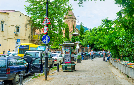 historical sites: TBILISI, GEORGIA - MAY 28, 2016: The street of Kote Abkhazi is one of he interesting historical sites with many landmarks, including religious, on May 28 in Tbilisi.