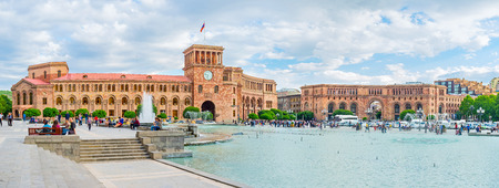 YEREVAN, ARMENIA - MAY 29, 2016: The beautiful architectural complex of Republic Square with the dancing fountains in the middle, on May 29 in Yerevan.