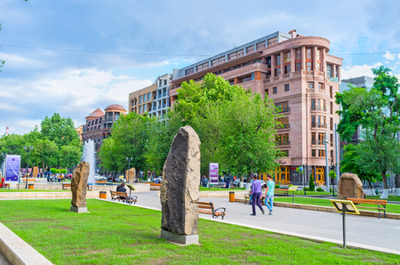 genocide: YEREVAN, ARMENIA - MAY 29, 2016: The open air exhibition, named The Cultural Genocide: symbol of Khachkars, shows the copies of destroyed or lost medieval cross-stones, on May 29 in Yerevan.