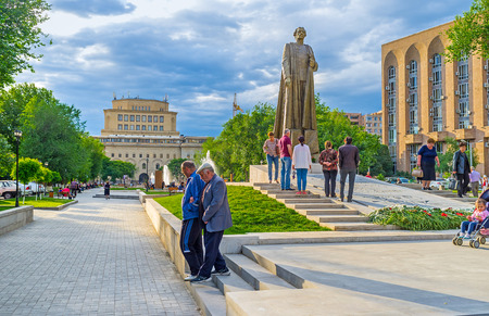 YEREVAN, ARMENIA - MAY 29, 2016: The newly opened Garegin Nzhdeh monument with the National Gallery on the background, on May 29 in Yerevan. Editorial