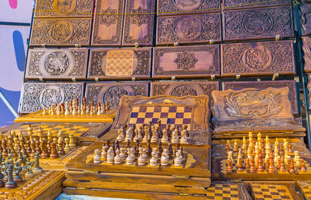 YEREVAN, ARMENIA - MAY 29, 2016: The handmade chess with the traditional carvings are the best present from Armenia, on May 29 in Yerevan.