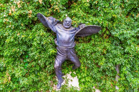 filmmaker: TBILISI, GEORGIA - MAY 28, 2016: The unusual flying statue of Sergei Parajanov, famous avant garde filmmaker and artist, on May 28 in Tbilisi.