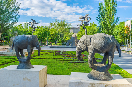 YEREVAN, ARMENIA - MAY 29, 2016: The Tamanyan street is famous for the sculpture garden, containing modern art works of different sculptors, on May 29 in Yerevan.