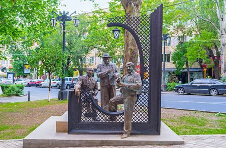 woodwind: YEREVAN, ARMENIA - MAY 29, 2016: The monument of three Armenian musicians, masters of play on traditional woodwind instruments - dudukes, on May 29 in Yerevan.
