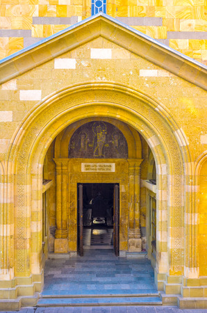 eligion: The entrance to the Anchiskhati Basilica, one of the oldest churches in Tbilisi, Georgia.