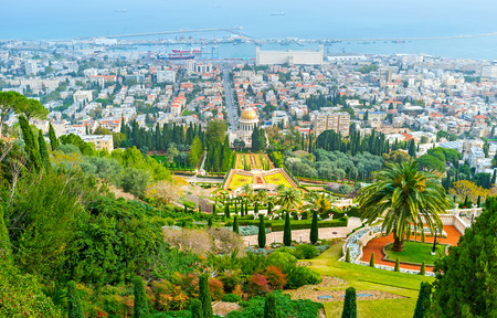 The view of Haifa city and Bahai Gardens and Temple from the top of Carmel Mount, Israel.