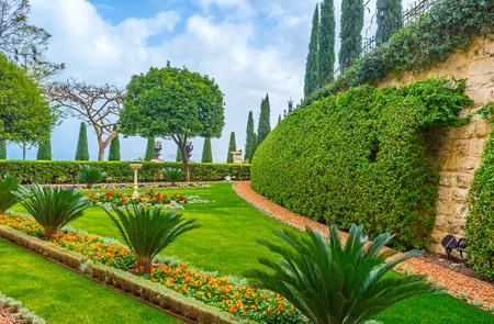 bahai: The Bahai Garden impresses with its beauty and spiritual atmosphere, Haifa, Israel.