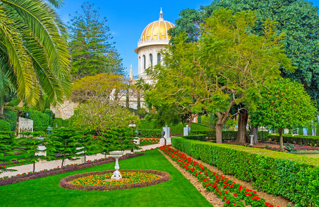 The middle level of Bahai Gardens with the beautiful shrine among the greenery, Haifa, Israel.
