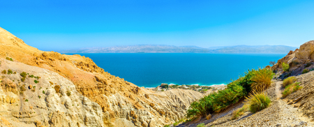 ein: The hike to the Judean desert mountains is the best choice to enjoy the amazing views on the Dead Sea coast from the distance, Ein Gedi, Israel.