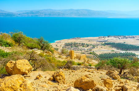 kibbutz: The mountain slope in Judean Desert with the view on kibbutz agriculture area on the Dead Sea coast, Israel.