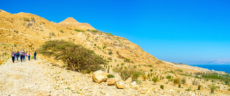 judean desert: The numerouse tourists visit Judean Desert, choosing the different routes for the hikes, Ein Gedi, Israel.