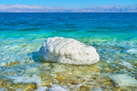 Der weiße Stein im Toten Meer, bedeckt mit Salz, Ein Gedi, Israel.