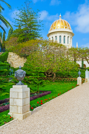 The alley, covered with gravel, leads to the Babs Shrine, Haifa, Israel. Stock Photo