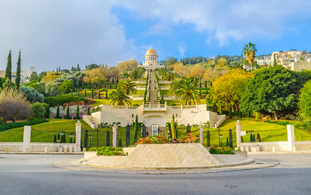 The Square, located at the foot of the Carmel Mount, here starts the lower level of Bahai Gardens, Haifa, Israel. Stock Photo