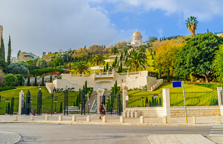 bahai: The lower level of Bahai Gardens with the fountains, stairway and the viewpoints, Haifa, Israel.