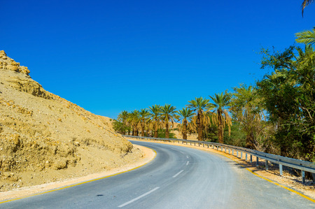 The automobile road between two sections of Ein Gedi Nature Reserve, Israel.