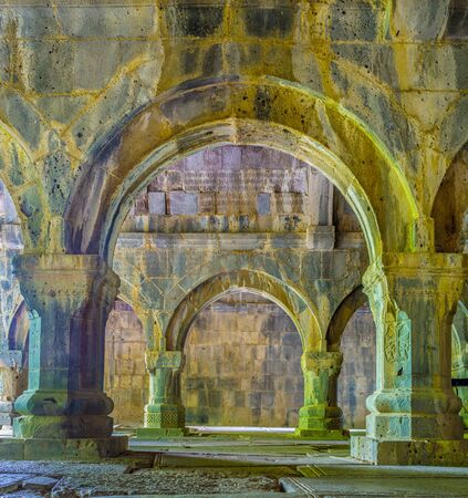 SANAHIN, ARMENIA - MAY 30, 2016: The  prayer hall of Sanahin Monastery with columns and arches of stone, on May 30 in Sanahin. Editorial