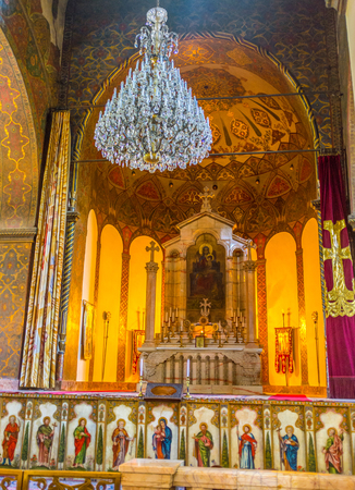 VAGHARSHAPAT, ARMENIA - MAY 30, 2016: The altar of Etchmiadzin Cathedral with the preserved medieval icon of Mother of God in the middle, on May 30 in Vagharshapat. Editorial