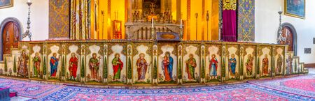 iconostasis: VAGHARSHAPAT, ARMENIA - MAY 30, 2016: The iconostasis of the Main Altar of Etchmiadzin Cathedral, decorated the icons, patterns and Carera marble, on May 30 in Vagharshapat. Editorial