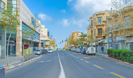 shabbat: HAIFA, ISRAEL - FEBRUARY 20, 2016: The streets of Haifa are empty during Shabbat, on February 20 in Haifa. Editorial