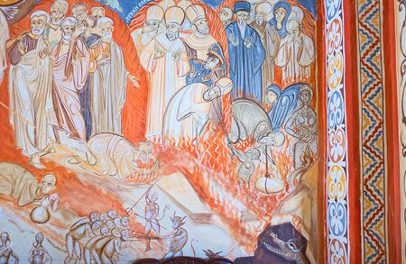 judgment: BUDVA, MONTENEGRO - JULY 16, 2014: The fresco, depicting the Judgment Day icon in Assumption Church of Podmaine Monastery, on July 16 in Budva.