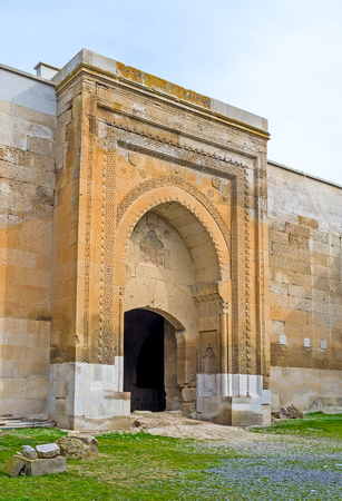 seljuk: The carved stone gate of Agzikarahan Caravan Saray, notable landmarks of Seljuk times, located next to Aksaray in Agzikarahan village, Cappadocia, Turkey. Editorial