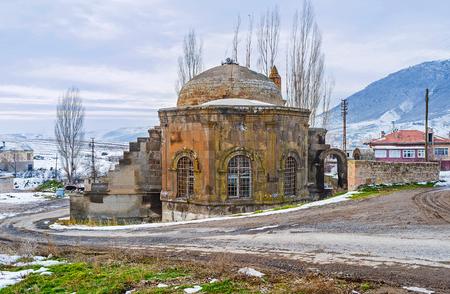 seljuk: The preserved Seljuk Selcuclu Camii (Mosque) in Chardak village in mountains of Cappadocia, Turkey. Stock Photo