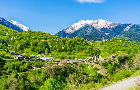 notable: The picturesque Bogreshi townlet with many medieval Svan towers, the notable landmarks of Samegrelo-Zemo Svaneti, Georgia.