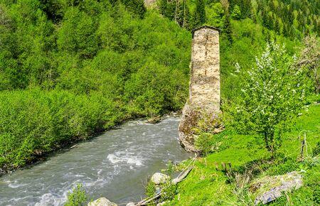 svan: The Love tower in Kala village is the nice example of Svan towers, the visit cards of Samegrelo-Zemo Svaneti, Georgia.