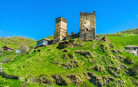 svan: The ruined medieval Svan towers on the hill in Vichnashi village, Samegrelo-Zemo Svaneti, Georgia.