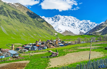 ushguli: The picturesque Zhibiani village is the part of Ushguli comunity, its the highest point oof it, located at the foot of Shkhara Mount, Svaneti, Georgia.