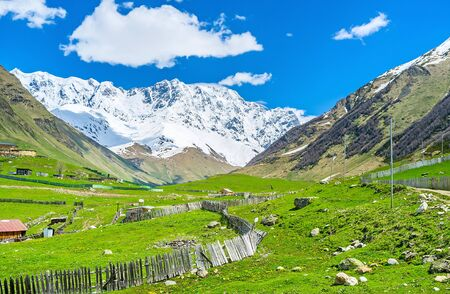 ushguli: The unique nature of Caucasus mountains with bright green slopes, located adjacent to the cold and snowy peaks, Ushguli, Upper Svaneti, Georgia.
