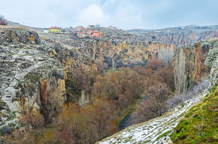 natures: The huge , narrow and twisted Ihlara gorge, covered with lush forest, is the natures wonder in Cappadocia, Turkey. Stock Photo