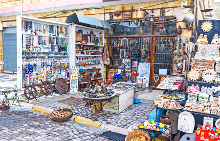 large store: The wide range of interesting souvenirs in the large store in Uchisar, Cappadocia, Turkey.