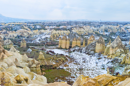 phallic: The giant phallic rocks in Love Valley are known among the tourists all over the world, Cappadocia, Turkey.