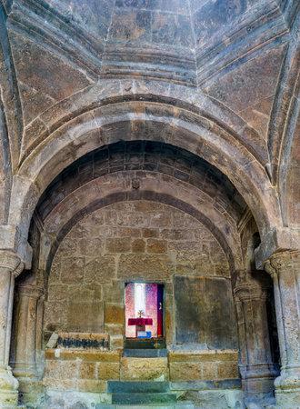 DILIJAN, ARMENIA - MAY 31, 2016: The dark interior of renovated Astvatsatsin Church in Haghartsin Monastery, on May 31 in Dilijan.