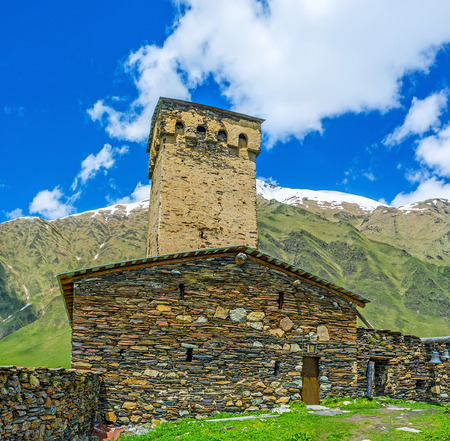 The medieval priests house, located next to the Lamaria Church in Ushguli, Upper Svaneti, Georgia.