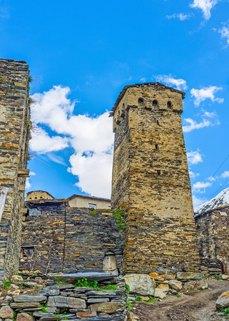 ushguli: The Svan towers are the main landmarks of Samegrelo-Zemo Svaneti region and one of the most interesting examples of the local architecture, Ushguli, Georgia.