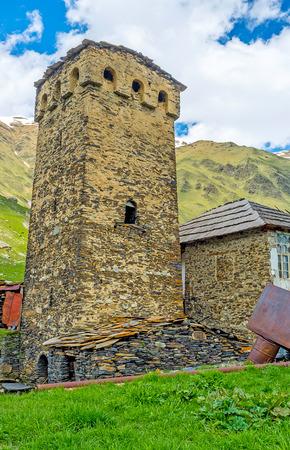 svan: One of the numerous Svan towers in Ushguli community, Upper Svaneti, Georgia. Stock Photo