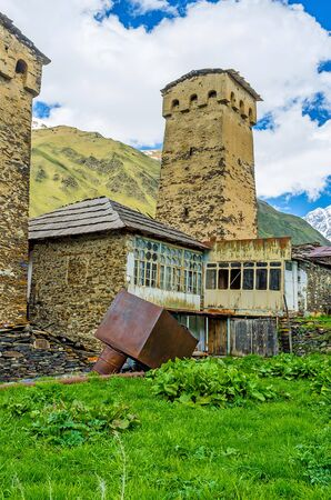 The highlanders of Svaneti live in medieval fortified houses with high towers, Ushguli, Georgia.