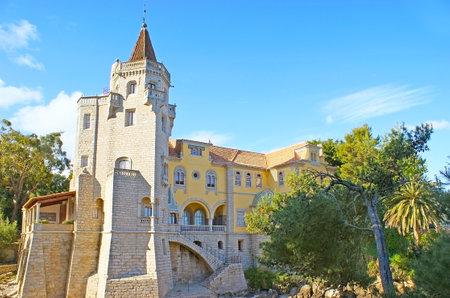 The old Palace of Condes de Castro Guimaraes, located in Municipal Park of Gandarinha, at the Atlantic Oceans bay, Cascais, Portugal. Editorial