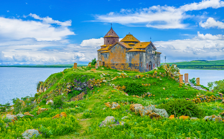 The Hayravank Monastery of Armenian Orthodox Church is the perfect example of medieval religious architecture, located on the hilly bank of Sevan Lake, Armenia.